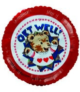 "4"" Airfill Get Well Soon Teddy Bear Sweater Balloons"