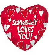 """17"""" Somebody Loves You Mylar Balloon Packaged"""