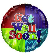 "4""  Airfill Get Well Soon Bright Colours Balloon"