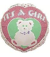 "4"" Airfill Only Balloon It's A Girl Bear"