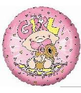 "9"" Airfill It's a Girl Baby w/bear Quilt Balloon"