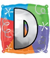 """18"""" Designer  Square Letter Balloon """"D"""""""
