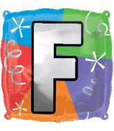 "18"" Designer  Square Letter Balloon ""F"""