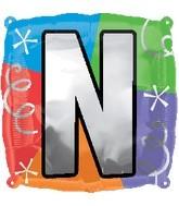 """18"""" Designer  Square Letter Balloon """"N"""""""