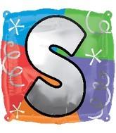 """18"""" Designer  Square Letter Balloon """"S"""""""