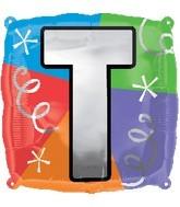 """18"""" Designer  Square Letter Balloon """"T"""""""