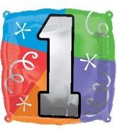 "18"" Designer  Square Number Balloon ""1"""