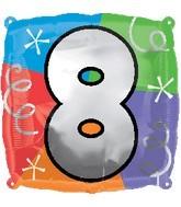 "18"" Designer  Square Number Balloon ""8"""