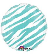 "18"" Robins Egg Blue Zebra Stripes Print"
