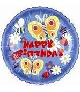 """9"""" Airfill Happy Birthday Butterfly Blooms"""