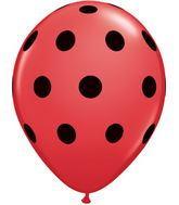 """5"""" 100 Count Big Polka Dots Red Balloon Black Dots"""
