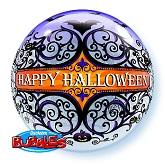 "22"" Halloween Scroll & Bats Bubble Balloon"