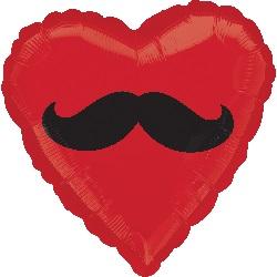 """18"""" Mustache Heart Mylar Balloon"""