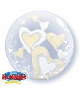 """24"""" White & Ivory Floating Hearts Double Bubble Balloons"""