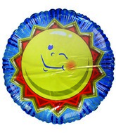 "36"" Smiling Sun Blue Stripes Jumbo Balloon"