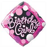 "18"" Birthday Girl Pink & Black Mylar Balloon"