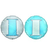 "18"" Letter I Pale Blue & White Round Mylar Balloon"