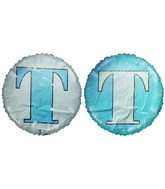 "18"" Letter T Pale Blue & White Round Mylar Balloon"