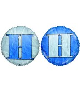 """18"""" Classic Letter Balloon Letter """"H"""" Navy Blue/White"""