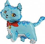 """44"""" Blue Cat with Bow and Bell Balloon"""