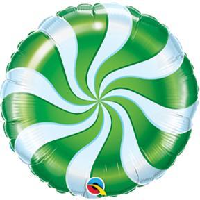 "18"" Round Candy Swirl Green Balloons"