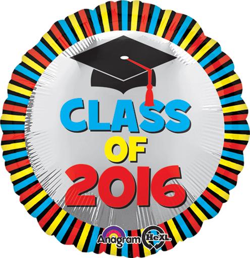"18"" Class of 2016 Stripes Balloon"
