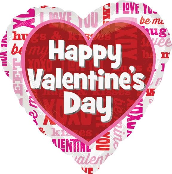 "18"" Happy Valentine's Day Balloon Type Face"
