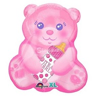 "16"" Junior Shape Xl Baby Girl Bear With Bottle Balloon"