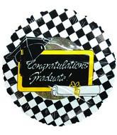 """9"""" Airfill Congratulations Graduate Silver Checkered Balloon"""