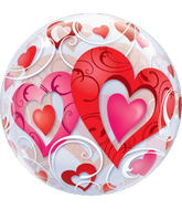 """22"""" Red Heart and Filigree Bubble Balloons"""