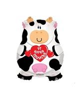 "28"" Te Quiero Mucho Cow holding a heart Jumbo Balloon"