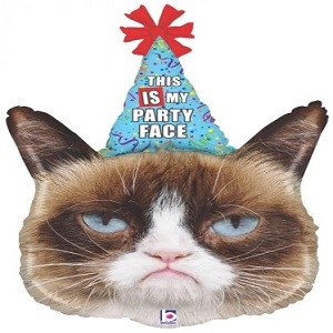 """36"""" Foil Licensed Shape Grumpy Cat Party Face Balloon"""
