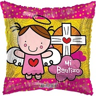 "18"" Angel Vitral Rosa Bautizo Balloon"