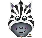 """32"""" Zany Zebra Face Shape Mylar Balloon"""