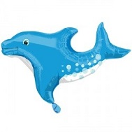 "28"" Playful Dolphin Blue Balloon"
