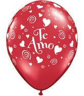 """11"""" Te Amo Swirling Hearts Ruby Red (50 Count)"""
