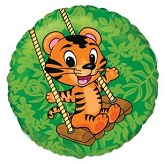 "18"" Green Circle Tiger Cub Mylar Balloon"