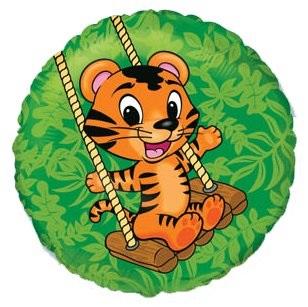 "18"" Green Circle Tiger Cub Mylar Balloon"