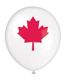 "11"" 8 Per Bag Canada Printed Latex Balloons"