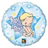 "18"" Yep! I'm A Boy Packaged Mylar Balloon"