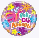 """18"""" Feliz Dia Abuelita Butterfly & Flowers Packaged"""