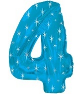 """38"""" Blue Sparkle Four Number Balloon"""