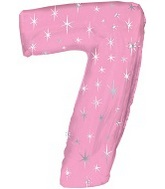 """38"""" Pink Sparkle Seven Number Balloon"""