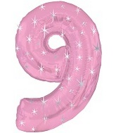 "38"" Pink Sparkle Nine Number Balloon"