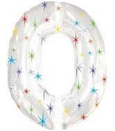 """38"""" Multi-Colored Sparkles Zero Balloon"""