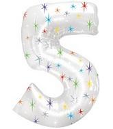 """38"""" Multi-Colored Sparkles Five Balloon"""
