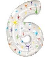 "38"" Multi-Colored Sparkles Six Balloon"
