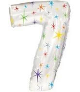 """38"""" Multi-Colored Sparkles Seven Balloon"""