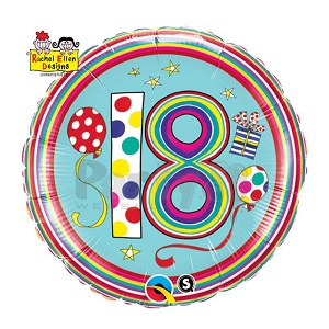"18"" Dots & Stripes Age 18 Licensed Mylar Balloon"