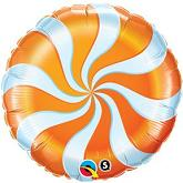 "18"" Round Candy Swirl Orange Balloons"